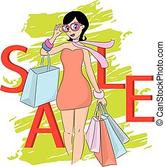 Fashion shopping girl and sale word. Vector illustration.
