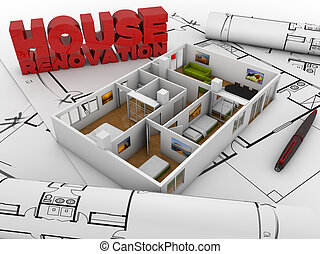 house renovation concept: house structure over project stuff