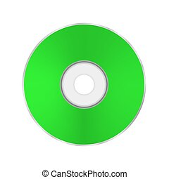 Green Compact Disc Isolated on White Background