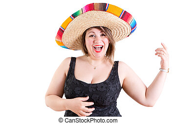 Happy Dancing Lady in Black Shirt with Mexican Hat
