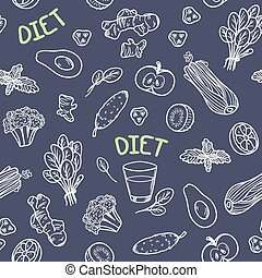 Chalk style vegetables seamless pattern. Vector...