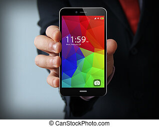 businessman with colorful smartphone