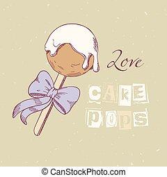 Hand drawn cake pop in vector. Sweet dessert doodle...