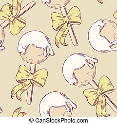 Cake pops with bow seamless pattern Sketch style dessert...