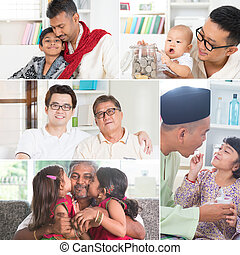 Collage photo of fathers and children - Collage photo...