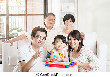 Asian Multi Generation Family Relaxing - Portrait Of Asian...
