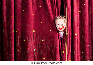 Pretty little girl waiting to come out on stage - Pretty...