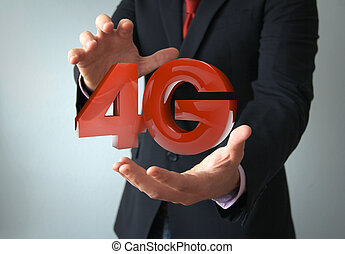 4g businessman - communications technology businessman: 4g...