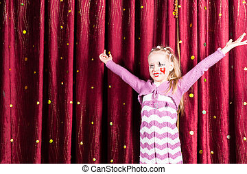 Pretty girl in pantomime costume on stage - Pretty little...