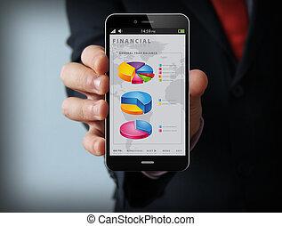 financial businessman smartphone - finances concept: Male...