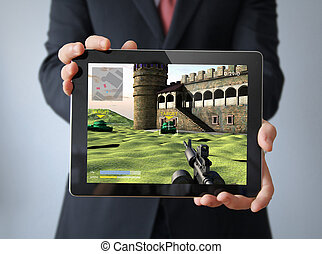 businessman with videogame tablet tablet - businessman with...