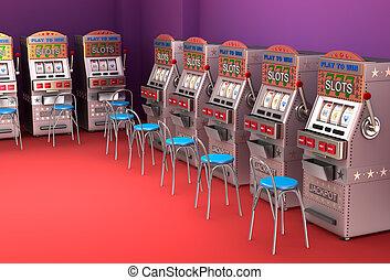 Slot machines in the casino Interior