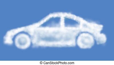 Cloud dream car isolated on light-blue