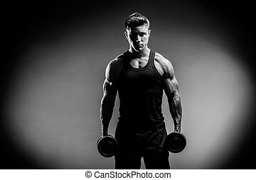 muscular bodybuilder guy close up monochrome - Close up of...