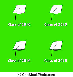 Class of 2016 Wht on Grn Lg Pat - Illustration of white caps...