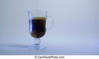 Glass cup of coffee - glass cup of coffee with milk
