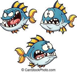 Evil Fish - Big, fat and evil cartoon fish. Vector clip art...