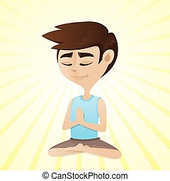 man meditating in sitting cross legged position -...