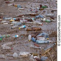 Plastic bottles garbage in river water