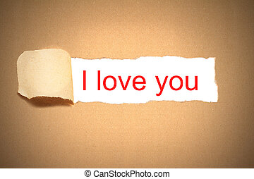 brown paper envelope torn to reveal i love you - brown paper...