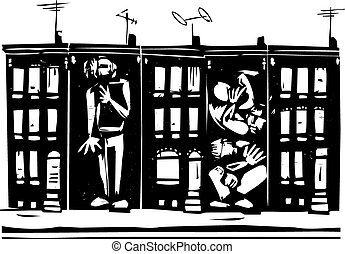 Trapped in Ghetto - Woodcut style image of people boxed into...