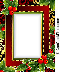 Christmas frame - illustration -Christmas frame with holly