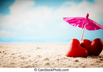 Love concept - Beach Valentines Day Greeting card newlyweds...