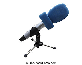 Microphone with blue wind protection isolated on white