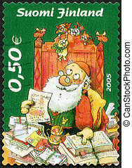 FINLAND - 2005: shows Santa Claus reading letters - FINLAND...