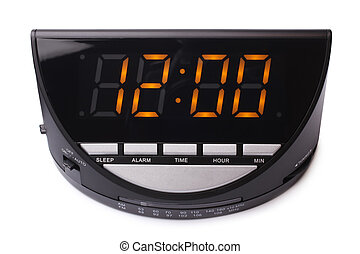 Digital electronic clock on white background