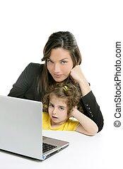 Beautiful mother and daughter laptop computer - Beautiful...