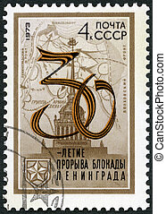 USSR - 1973: shows Map and Admiralty Tower, Leningrad,...