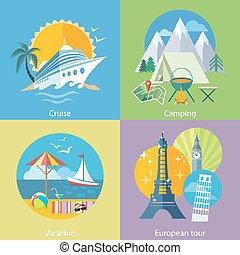 Viajar, viaje, crucero, barco, y, campamento, concepto,
