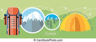 Camping Tourism Concept - Camping tourism tent near the...