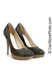 Suede women shoes on white background