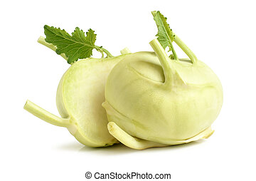 Cabbage kohlrabi on white background