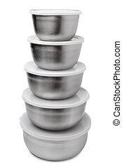 Stack of food metallic containers on white background