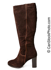 Suede boot on white background