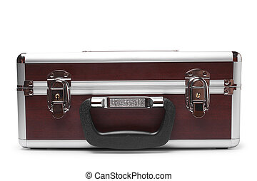 Wooden padded aluminum briefcase on white background