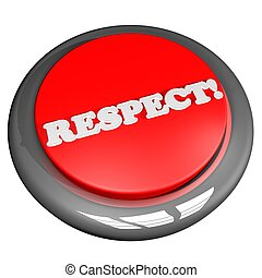 Respect button, isolated over white, 3d render, square image
