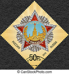 RUSSIA - 2010: shows Order of Victory, dedicated The 65th...