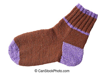 Woollen knitted sock isolated on white background