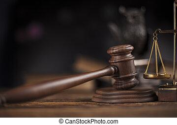 ley, tema, mazo, de, juez, de madera, martillo,