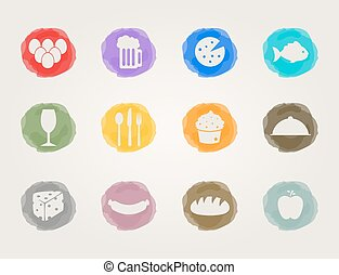 food deli icons set for restaurant and bar