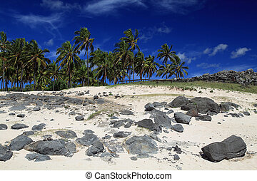 Beautiful pristine beach on Easter - Anakena beach, on...
