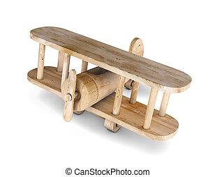 3d wooden plane - 3d wooden airplane. Biplan. 3d render...