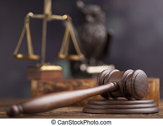 juez, tema, martillo, ley, mazo