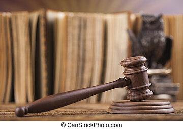 de madera, martillo, Abogado, Justicia, concepto, legal,...