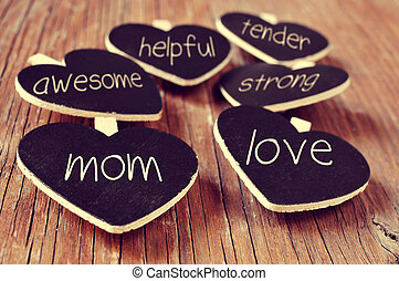 concepts referring to a good mom, such as love, helpful or...