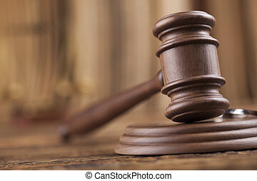 Law theme, mallet of judge, wooden gavel